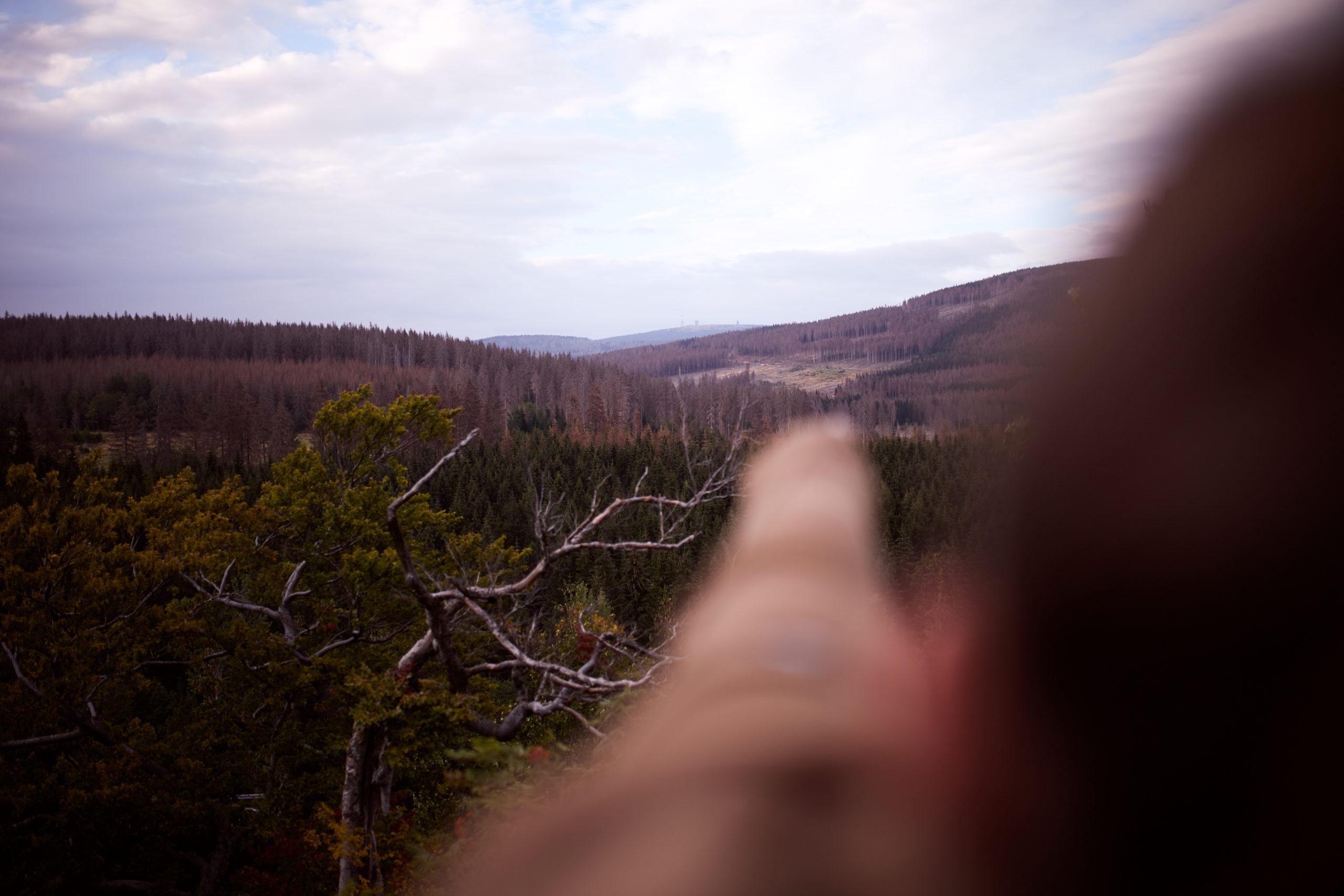 she wanders - Sara zeigt auf den Brocken im Harz